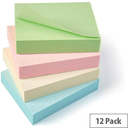 5 Star Eco Recycled Notes 38x51mm Re-Move Pastel  Pack 12