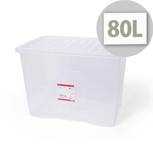 5 Star Office Storage Box Stackable Clip-on Lid 80L Clear
