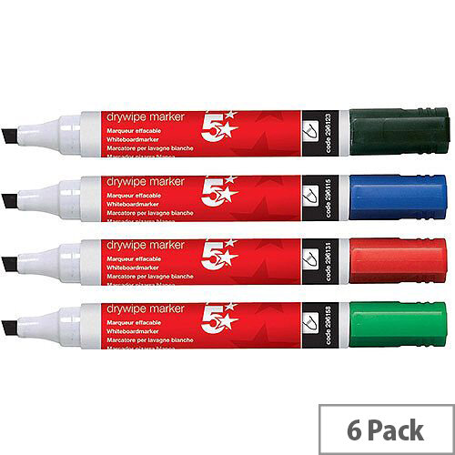 5 Star Office Drywipe Marker Xylene/Toluene-free Chisel Tip 2-5mm Line Assorted  Wallet 6
