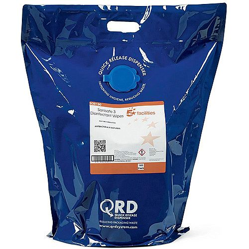 5 Star Facilities Disinfectant Wipes Anti-bacterial PHMB-free BPR Low-residue 19x20cm [Bag 1500 Sheets]