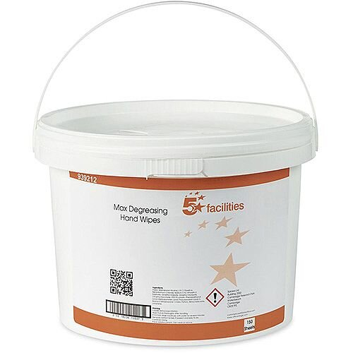 5 Star Facilities Hand and Surface Degreasing Wipes Anti-bacterial Smooth Pack 1 (Bucket 150 Wipes)