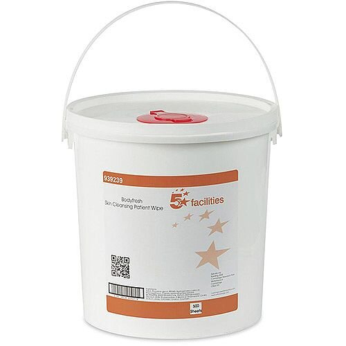 5 Star Facilities Wet Wipes Skin Cleansing Fragranced 20gsm 20x20cm [Bucket 500 Sheets]