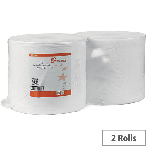 5 Star Facilities Tissues Refill Paper Rolls Cleaning Wiper Rolls 370m 2-ply Perforated Sheet 260x370mm 40gsm White Rolls (Pack 2)