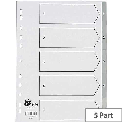 5 Star Elite File Index Grey Tabs Polypropylene 1-5 White A4