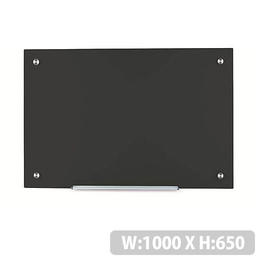 5 Star Office W1000xH650mm Magnetic Glass Board with Wall Fixings Black