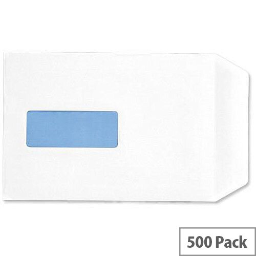 5 Star Eco C5 Envelopes Recycled Pocket Self Seal Window 90gsm White Pack of 500