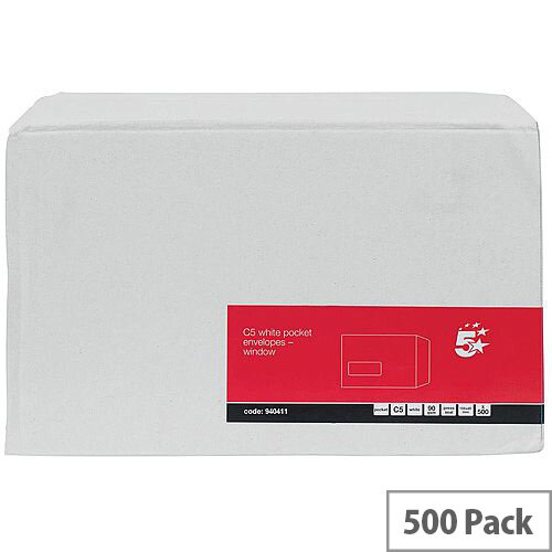 5 Star Office C5 Envelopes Pocket Self Seal Window 90gsm White Pack of 500