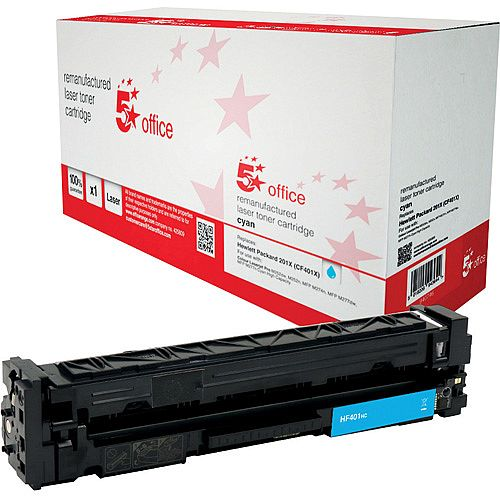 5 Star Office Remanufactured Laser Toner Cartridge Page Life 2800pp Cyan HP 201X CF401X Alternative