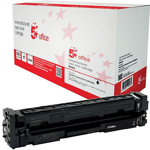 5 Star Office Remanufactured HP CF400X 201X Black Yield 2,300 Pages High Capacity Laser Toner Cartridge