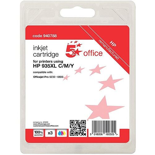 5 Star Office Remanufactured HP 935XL Cyan/Yellow/Magenta Yield 3 x 825 Pages Inkjet Cartridge Pack of 3