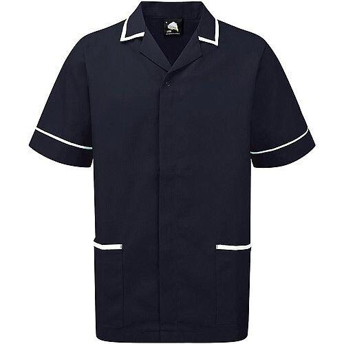 5 Star Facilities Men's Nursing Tunic Concealed Zip Size Medium Navy/White