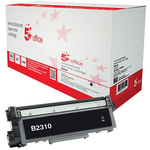 5 Star Office Remanufactured Brother TN-2310 Black Yield 1,200 Pages Laser Toner Cartridge Ref 942253