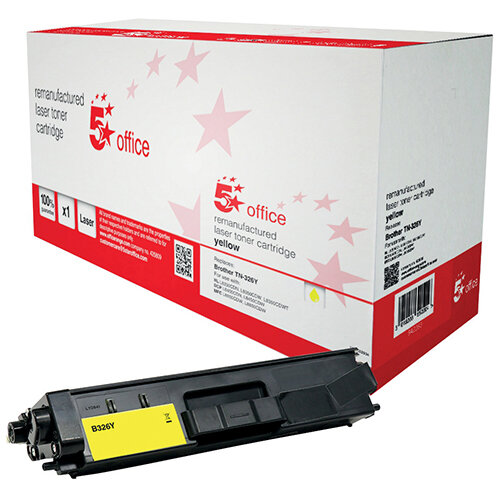 5 Star Office Remanufactured Laser Toner Cartridge Page Life 3500 Pages Yellow Brother TN326Y Alternative Ref 942283