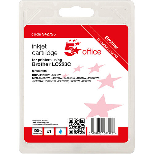5 Star Office Remanufactured Inkjet Cartridge Page Life Cyan 550pp [Brother LC223C Alternative]