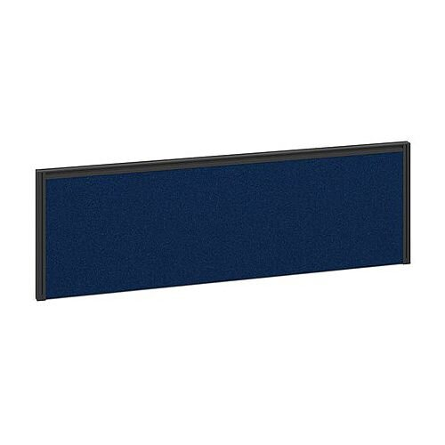 Straight Fabric Upholstered Return Office Desk Screen 1185mmx380mm - Blue Fabric With Black Aluminium Frame