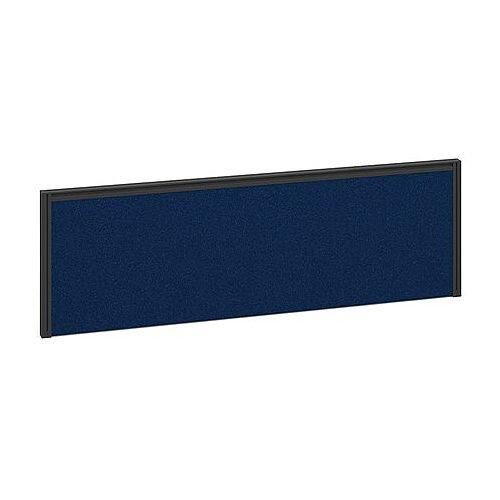 Straight Fabric Desktop Return Office Desk Screen 1185mmx380mm - Blue Fabric With Black Aluminium Frame