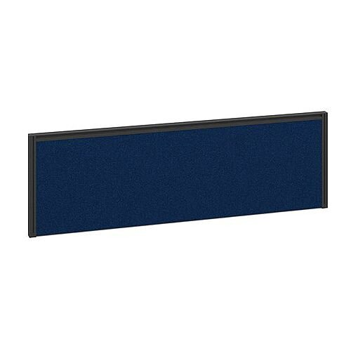 Straight Fabric Upholstered Office Desk Screen 1400mmx380mm - Blue Fabric With Black Aluminium Frame