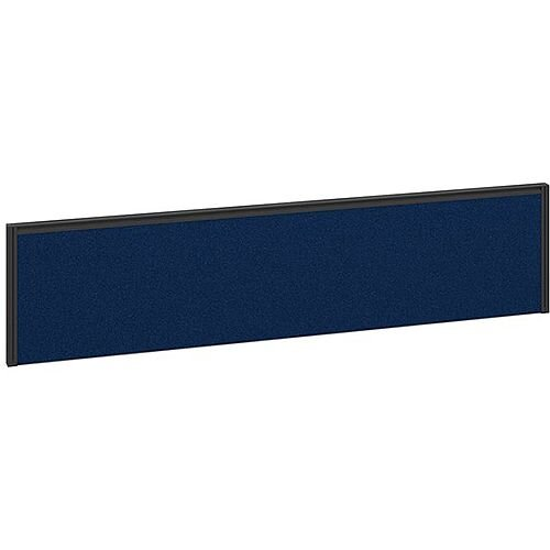 Straight Fabric Upholstered Office Desk Screen 1600mmx380mm - Blue Fabric With Black Aluminium Frame