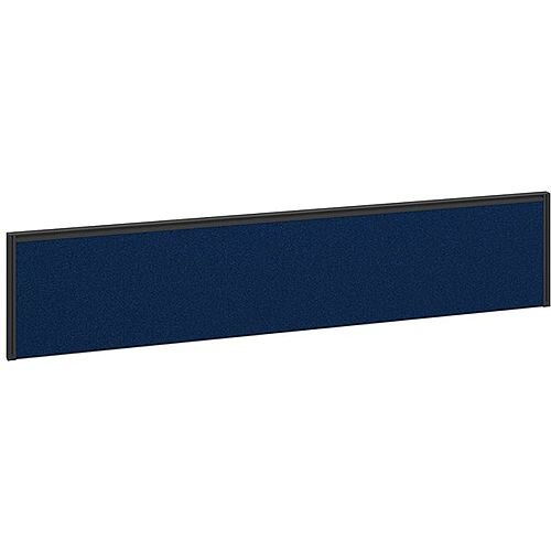 Straight Fabric Upholstered Office Desk Screen 1800mmx380mm - Blue Fabric With Black Aluminium Frame