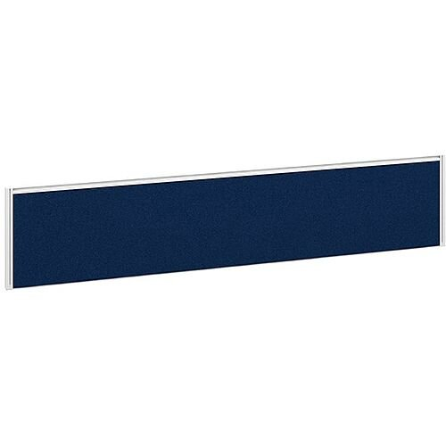 Straight Fabric Upholstered Office Desk Screen 1800mmx380mm - Blue Fabric With White Aluminium Frame