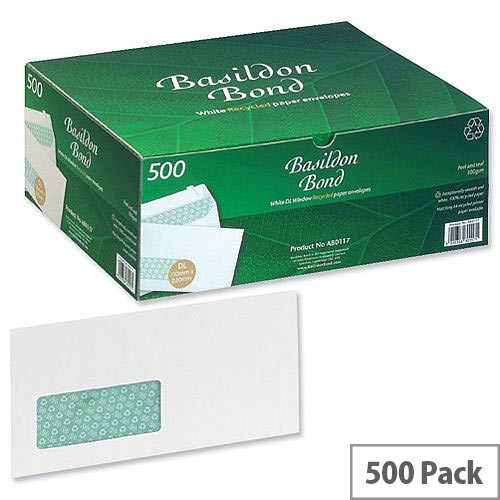 Basildon Bond DL Window Envelopes Peel and Seal White (Pack 500)