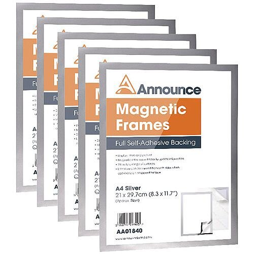 Announce Magnetic Frames A4 Silver Pack of 5 AA01841