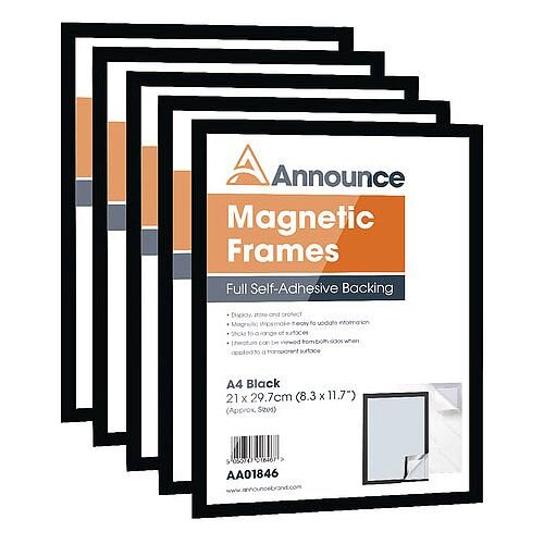 Announce Magnetic Frames A4 Black Pack of 5 AA01847