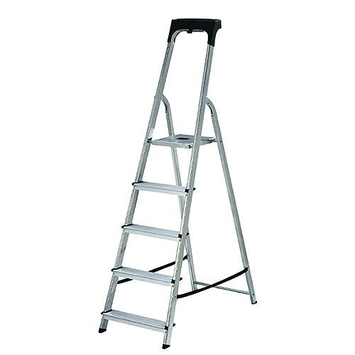 Abru Promaster Aluminium High Handrail 5 Tread Step Ladder 1.03m High Platform 60605