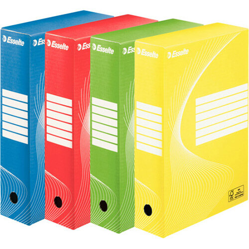 Esselte Standard Archive Boxes 80mm Assorted Pack of 10