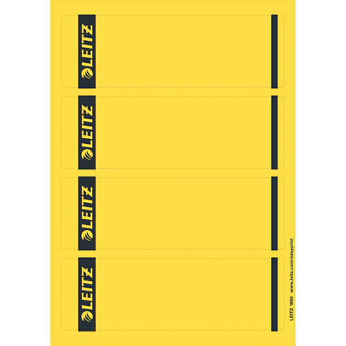 Leitz PC Printable Spine Labels for Standard Lever Arch Files Laser Short Wide Yellow 25 A4 Sheets - 4 Labels per Sheet 100 Labels