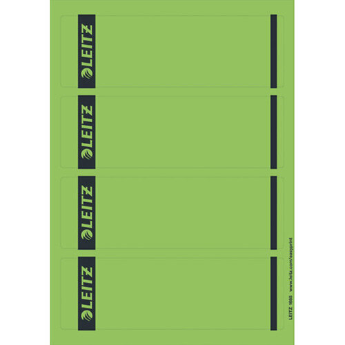Leitz PC Printable Spine Labels for Standard Lever Arch Files Laser Short Wide Green 25 A4 Sheets - 4 Labels per Sheet 100 Labels