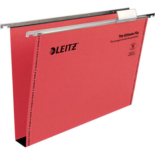 Leitz Ultimate Clenched Bar Suspension Files Foolscap Squared-Base Red Pack of 50