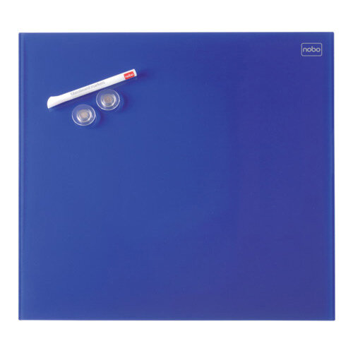 Nobo Diamond Glass Magnetic Whiteboard - Retail Pack 300x300mm Blue