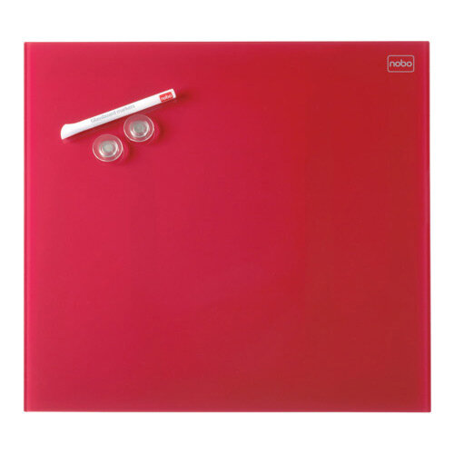 Nobo Diamond Glass Magnetic Whiteboard - Retail Pack 450x450mm Red