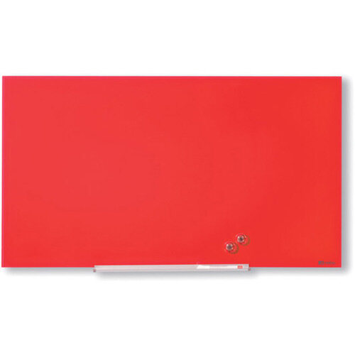 Nobo Diamond Glass Magnetic Whiteboard 677x381mm Red