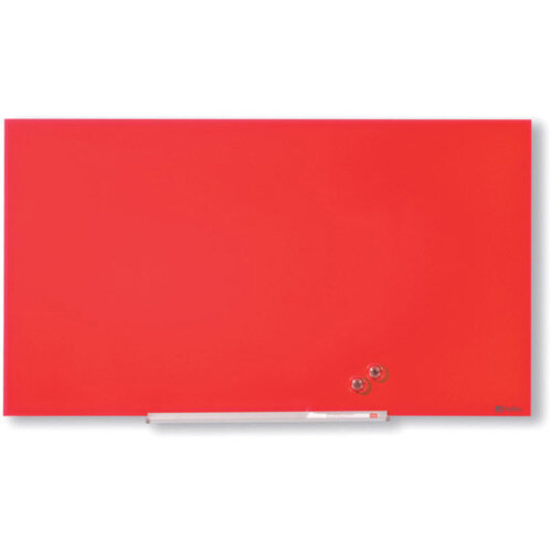 Nobo Diamond Glass Magnetic Whiteboard 1264x711mm Red