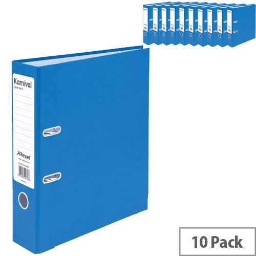 Rexel Karnival 70mm Blue A4 Lever Arch File Pack of 10