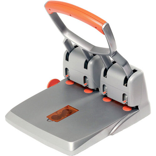 Rapid Supreme Heavy Duty Hole Punch HDC150/4-hole Silver &Orange