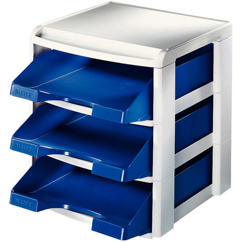 Leitz Plus Letter Tray Rack Grey &Blue