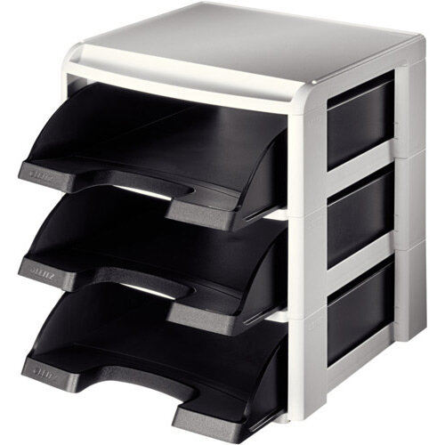 Leitz Plus Letter Tray Rack Grey &Black