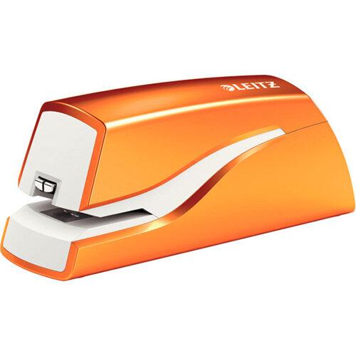 Leitz NeXXt Series WOW Electric Stapler Battery-Powered Metallic Orange