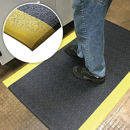 Charcoal and Yellow Mat Anti-Fatigue Floor 0.9mx0.6m Matting