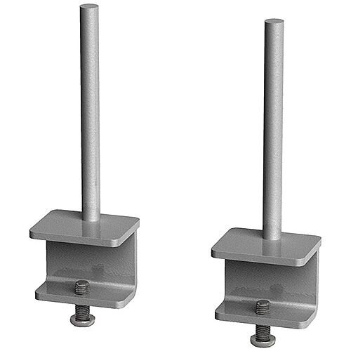 Office Desk Privacy Screen Brackets For Single Desks Or Runs Of Adapt And Fuze Single Desks (Pair) - Silver