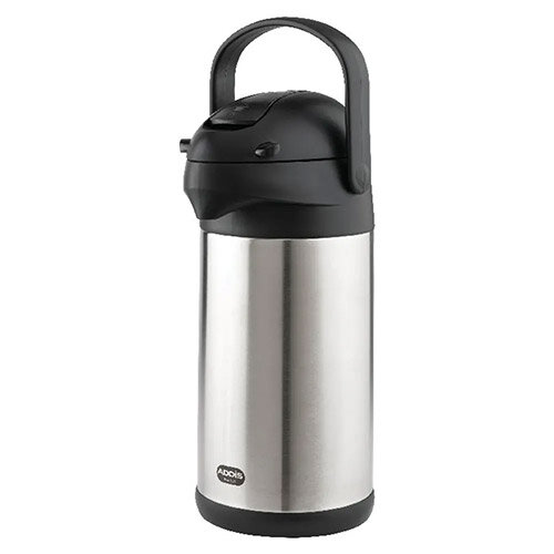 Addis Chrome President Pump Pot Vacuum Flask Stainless Steel Jug 3 Litre – Hot Or Cold Drinks, Maintains Temperature For 6 Hours, Double-Walled &Swing Handle (637301600)