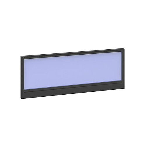 Straight Glazed Office Desk Screen 1000mmx380mm - Electric Blue With Black Aluminium Frame
