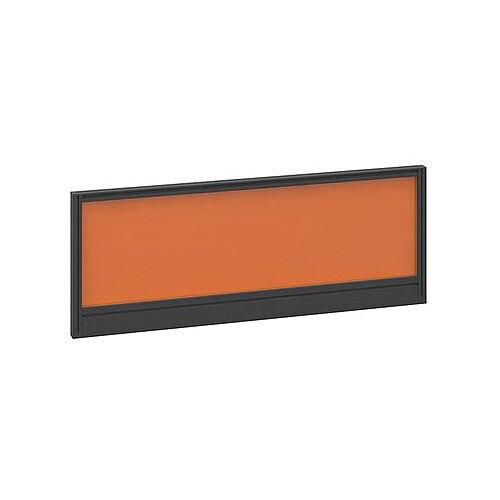 Straight Glazed Office Desk Screen 1000mmx380mm - Mandarin Orange With Black Aluminium Frame