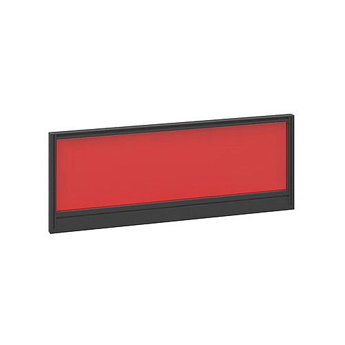 Straight Glazed Office Desk Screen 1000mmx380mm - Chili Red With Black Aluminium Frame