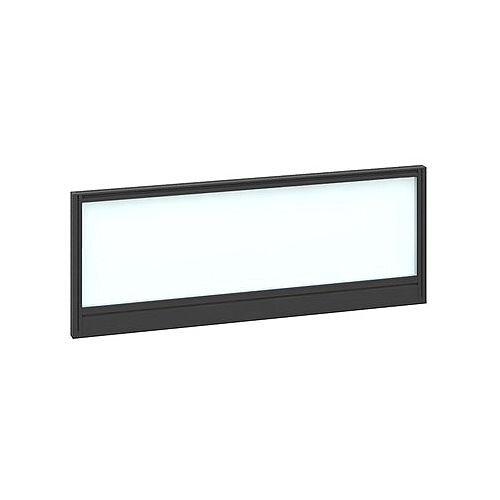 Straight Glazed Office Desk Screen 1000mmx380mm - Polar White With Black Aluminium Frame