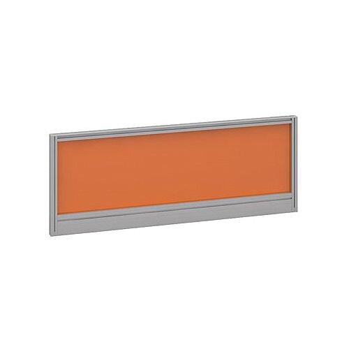 Straight Glazed Office Desk Screen 1000mmx380mm - Mandarin Orange With Silver Aluminium Frame