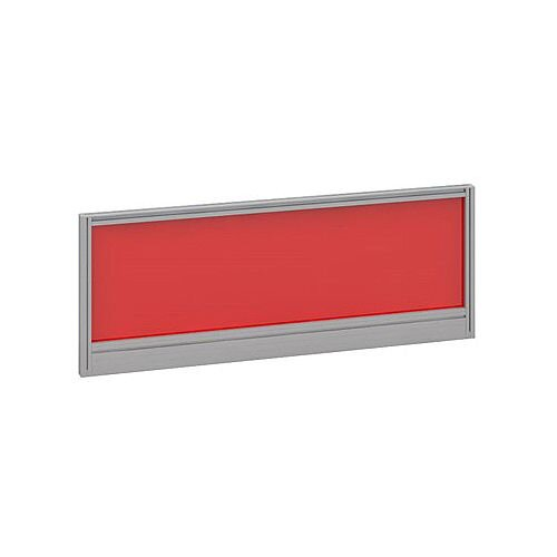 Straight Glazed Office Desk Screen 1000mmx380mm - Chili Red With Silver Aluminium Frame